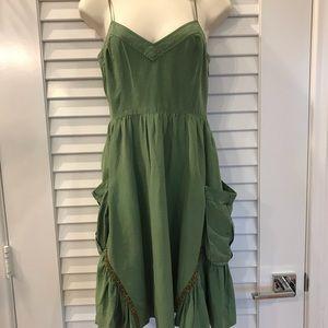 Free People Boho Green Peasant Dress